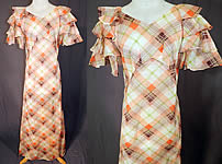 Vintage Orange & White Plaid Organdy Ruffle Bell Sleeve Bias Cut Dress Gown
