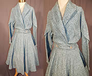 Vintage Blue Boucle Carlton Ingenue Poodle Cloth Circle Skirt & Suit Jacket