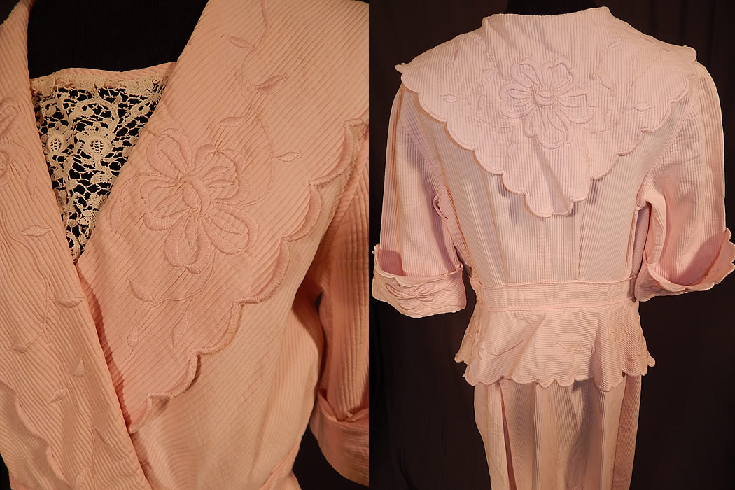 Edwardian Pink Cotton Pique Embroidered Peplum Dress Tea Gown
