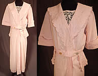 Edwardian Vintage Pink Cotton Pique Embroidered Peplum Dress Tea Gown