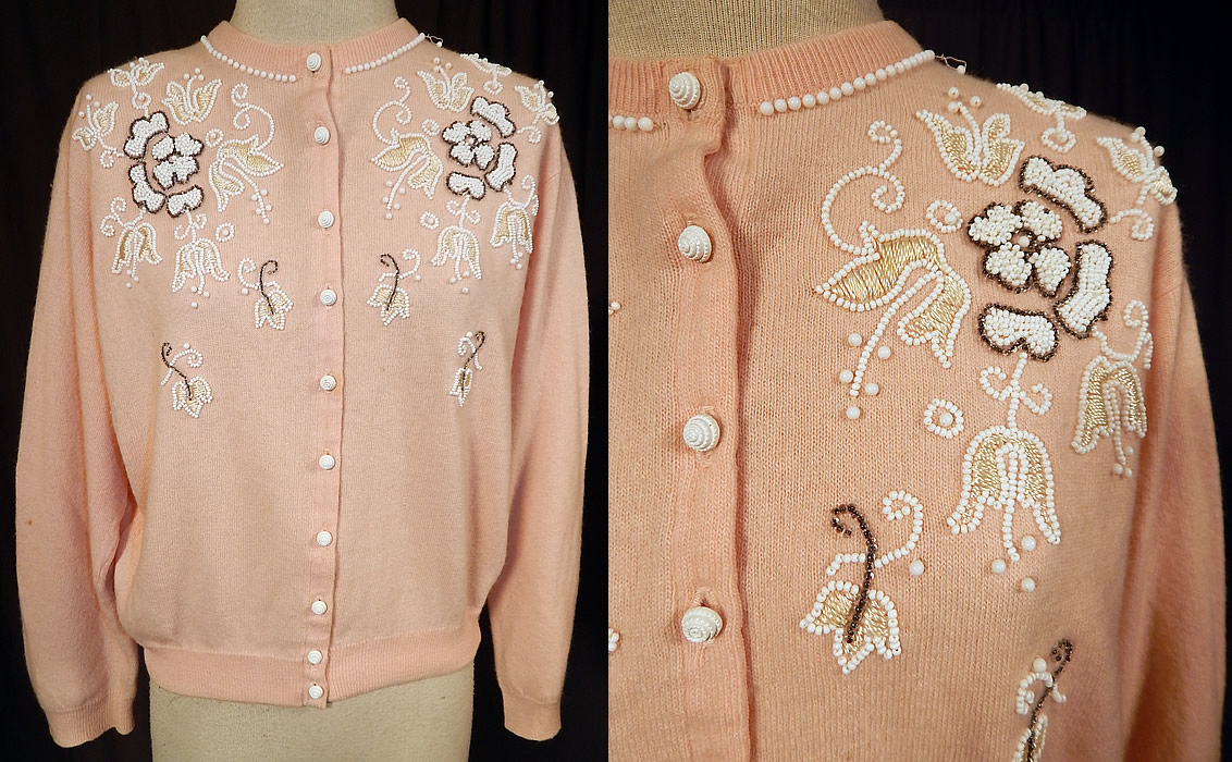 Vintage Pringle of Scotland Pink Cashmere White Beaded Cardigan Sweater