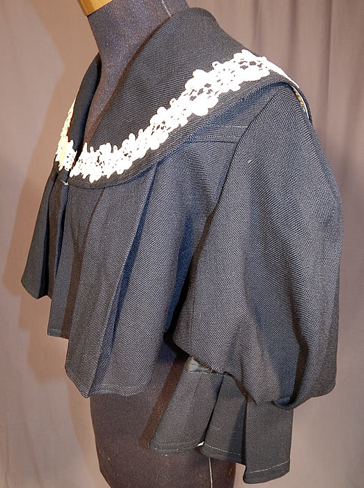 Victorian Box Pleat Black Wool White Lace Bolero Spencer Jacket Cropped Top