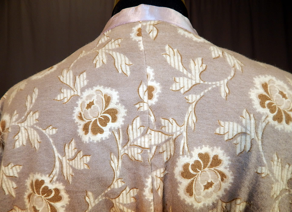 Edwardian Lavender Gray Floral Flannel Morning Robe Bed Jacket Coat
