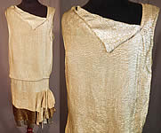 Vintage Moir Grant Art Deco Tricolor Gold Lamé Lame Drop Waist Flapper Dress