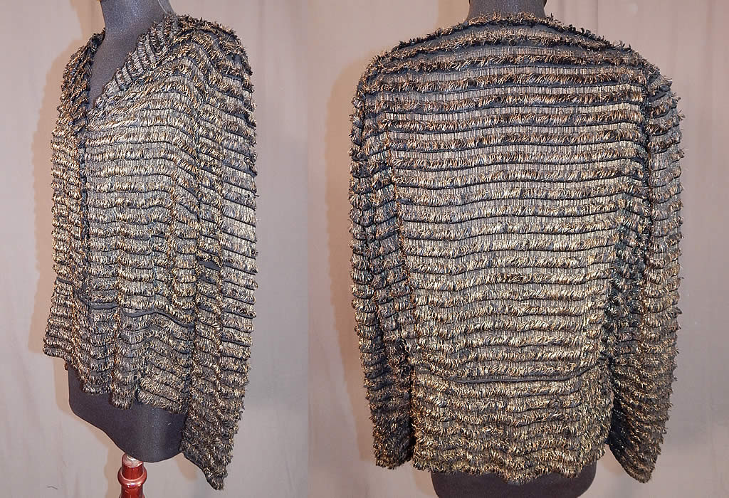 Vintage Art Deco Gold Lamé Lame Eyelash Fringe Peplum Evening Coat Jacket
