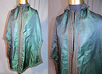 Victorian Civil War Era Iridescent Green Silk Batwing Dolman Mantle Cloak Cape