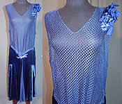 Vintage Art Deco Blue Silk Velvet Mesh Top Rhinestone Butterfly Buckle Flapper Dress