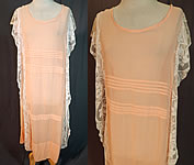 Vintage Pleated Peach Cotton Batiste Filet Lace Ruffle Trim Drop Waist Chemise Dress