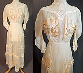 Edwardian White Cotton Muslin Lace Silk Ribbon Ruched Ruffle Trim Wedding Dress