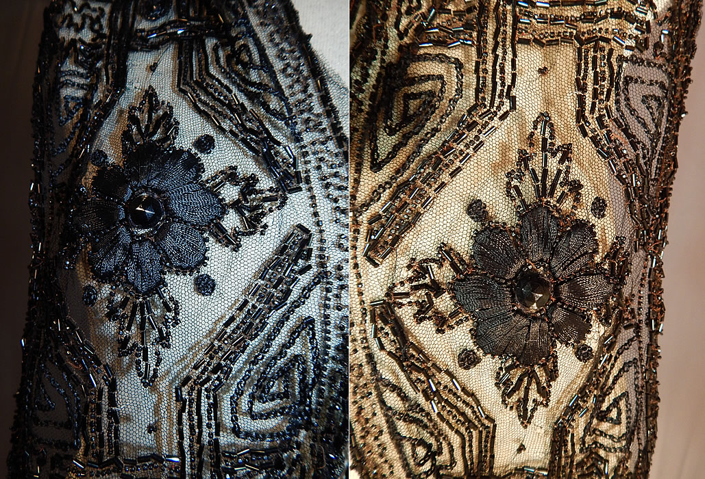 Edwardian Black Net Silk Embroidered Beaded Dress Trim Shawl Collar