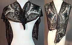 Vintage Edwardian Antique Black Net Silk Embroidered Beaded Dress Trim Shawl Collar