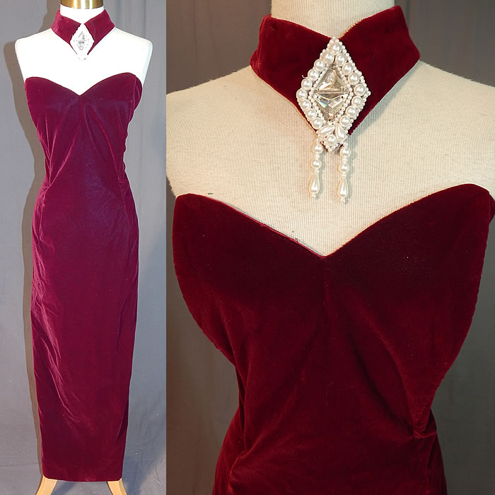 Vintage Scott McClintock Burgundy Red Velvet Jeweled Sexy Sheath Dress Evening Gown