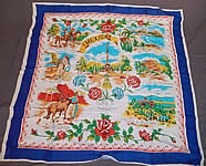 Vintage Souvenir Mexico Silk Screen Novelty Print Large Rayon Scarf 35x35