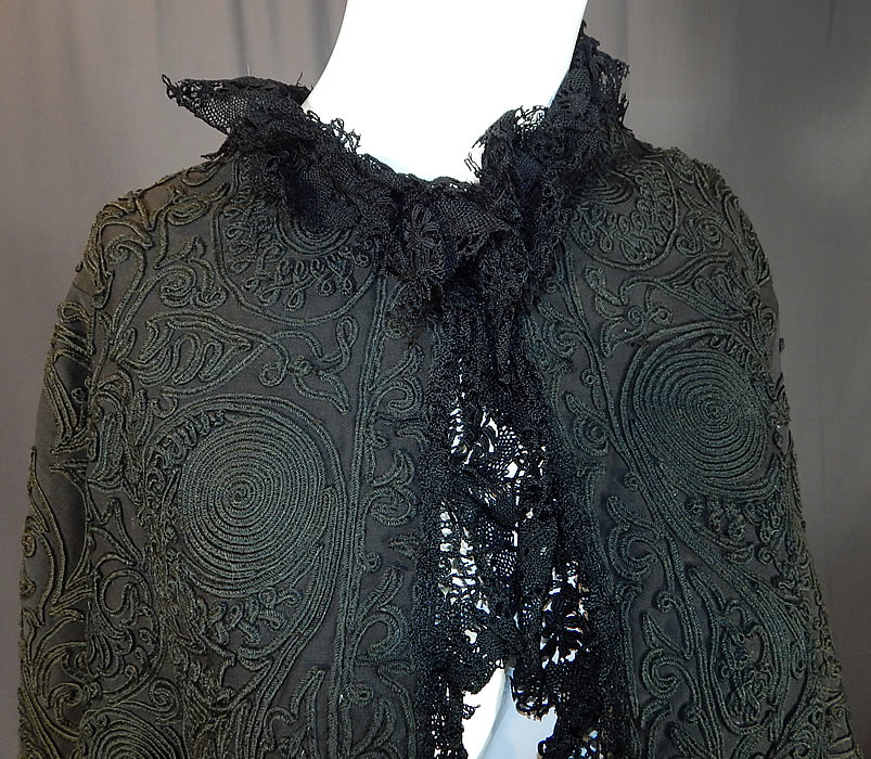 Victorian Black Wool Soutache Embroidery Work Lace Dolman Mantle Cape