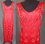 Vintage Red Silk Satin Sequin Pearl Beaded Pinup Wiggle Sheath Dress Evening Gown
