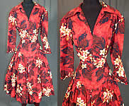Vintage Red Cotton Hawaiian Plumeria Novelty Print Fit & Flare Circle Skirt Dress