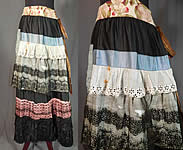 Victorian Black Cotton Ruffled Ribbon Lace Patchwork Petticoat Skirt Costume