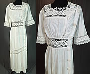Edwardian White Woven Cotton Muslin Lace Crochet Button Trim Tea Gown Dress