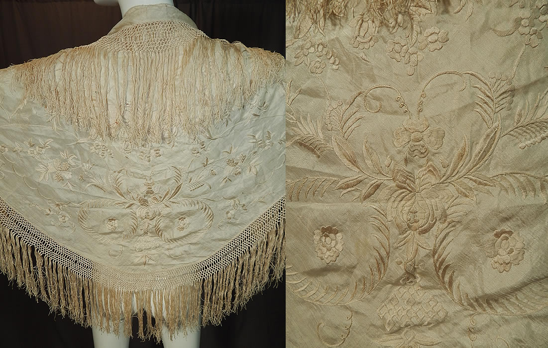 Antique Edwardian Cream Silk Embroidered Fringe Piano Shawl Wedding Cape
