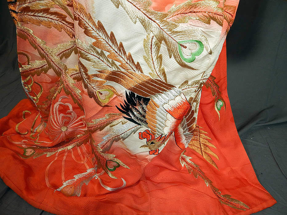 Vintage Japanese Peacock Red Silk Gold Embroidered Uchikake Wedding Kimono