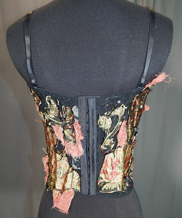 Vintage Alberto Makali Black Lace Silk Applique Trim Bustier Corset Top NWT