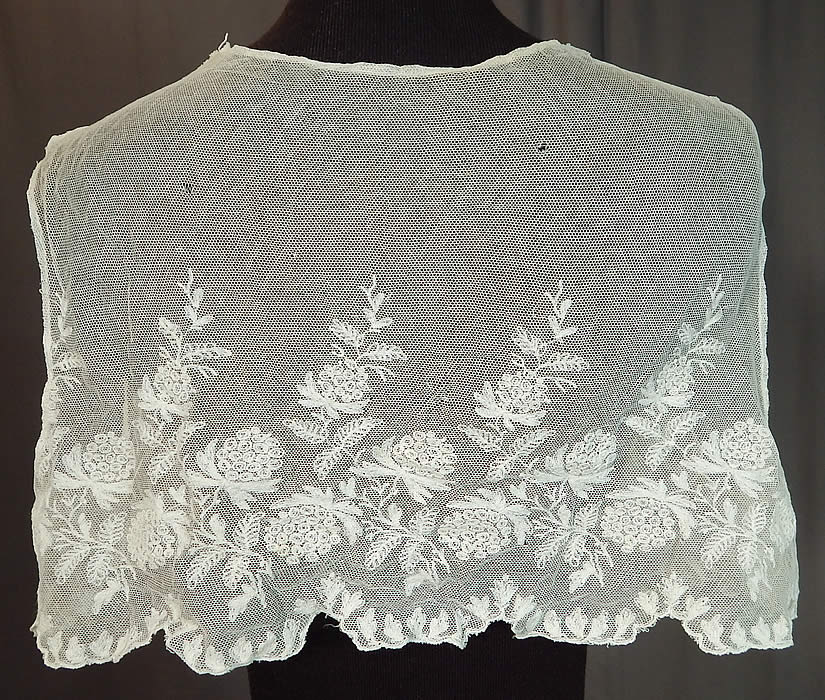 Edwardian White Tambour Embroidery Lace Net Bolero Jacket Sleeveless Vest Crop Top