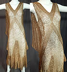 Vintage 1930s Art Deco Gold Metallic Lamé Lame Lace Bias Cut Evening Gown Dress