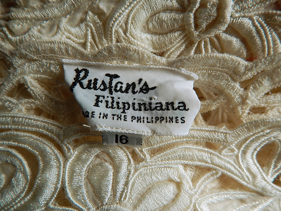 Vintage Rustan's Filipiniana Philippines White Silk Lace Cutwork Shawl Collar Cape