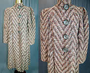 Vintage Lady Lee Evelyn Shop Chevron Stripe Tweed Knit Boucle Wool Winter Coat