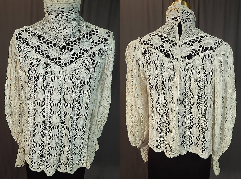 Edwardian Antique White Torchon Cluny Bobbin Lace Applique Blouse Shirt Top