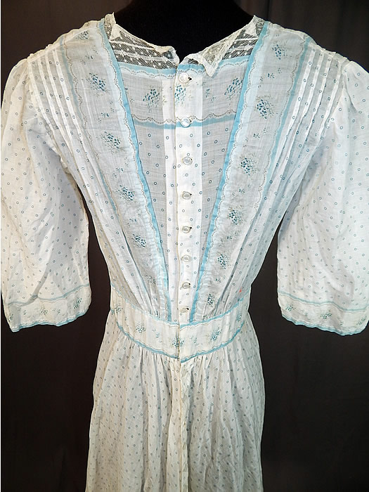 Victorian Blue & White Cotton Batiste Polka Dot Floral Calico Print Girls Dress