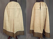 Victorian Brown Flannel Blue Stitched Quilted Trim Winter Petticoat Drawstring Skirt