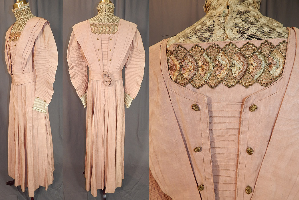 Edwardian Pleated Pink Cotton Silk Moire Gold Embroidered Lace Collar Dress Gown