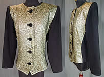 Vintage Saint Laurent Rive Gauche Gold Lamé Black Knit Suit Jacket