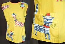 Vintage Ameritex Screen Print Novelty Mod Cat Art Smock Tunic Top Blouse