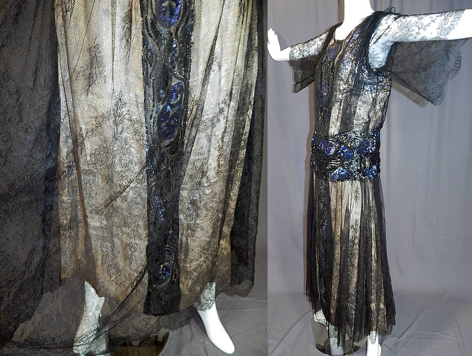 Vintage Art Deco Silver Lamé Lame Black Chantilly Lace Sequin Beaded Gown