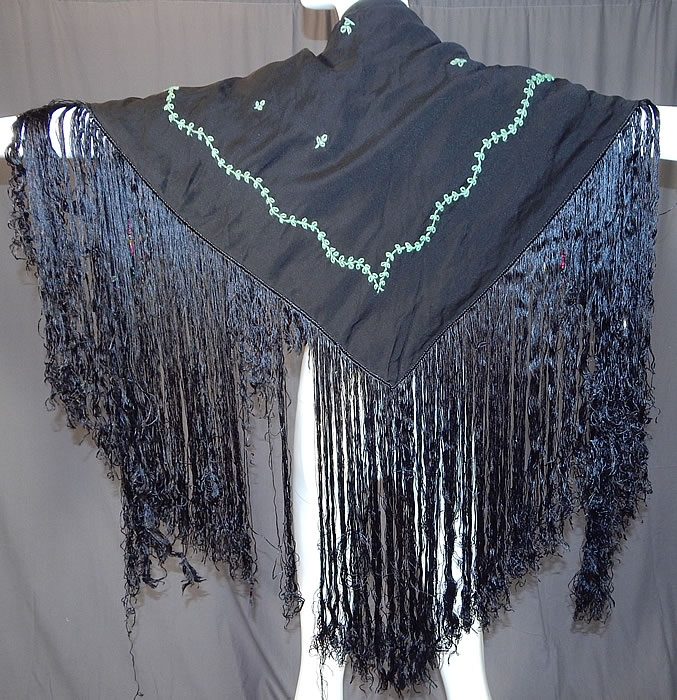 Vintage Black Silk Floral Garland Rosette Yarn Embroidered Fringe Shawl Scarf