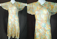 Vintage Yellow Tulip Flower Print Silk Shawl Collar Cape Bias Cut Dress
