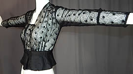 Edwardian Sheer Black Net Lace Embroidered Spiral Flower Blouse Shirt Top Vtg