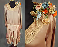 Vintage Ecru Beige Silk Lace Collar Spotted Velvet Flower Trim Drop Waist Dress