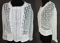 Edwardian Antique White Crochet Lace Pleated Net Vintage Blouse Shirt Top