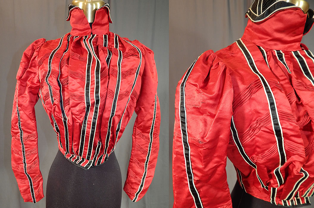 Victorian Red Silk Black & White Striped Pleated Bodice Blouse