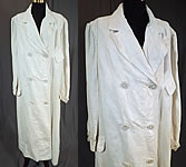 Edwardian Women's White Linen Double Breasted Motoring Driving Duster Coat