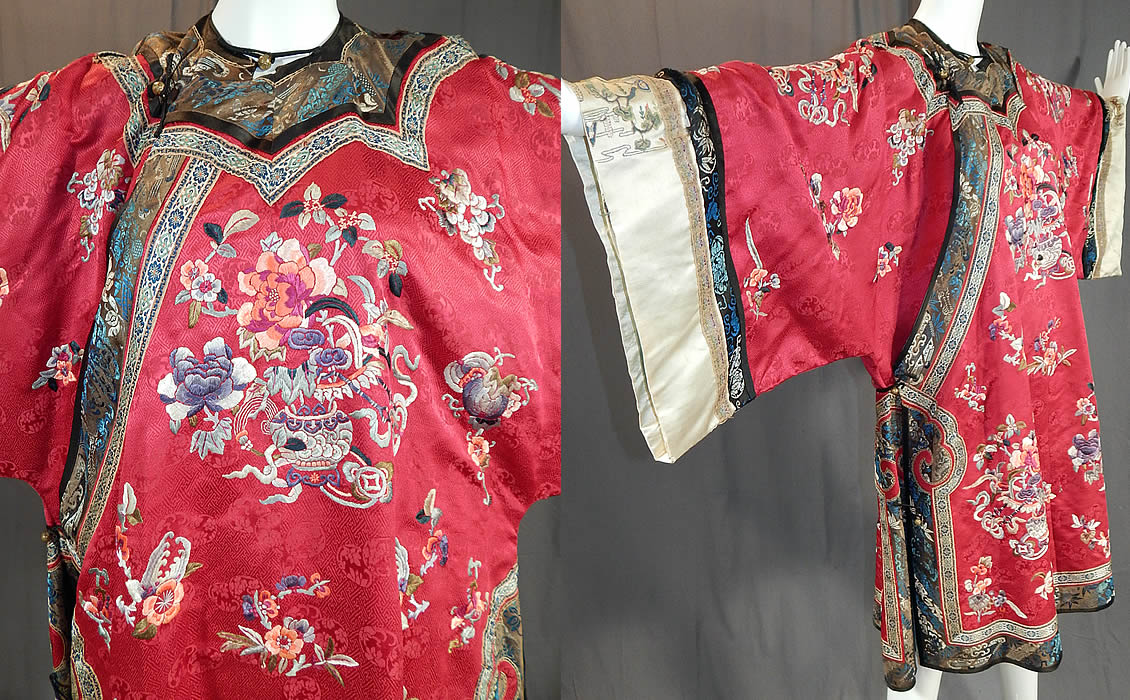 Antique Chinese Red Silk Embroidered Forbidden Stitch Sleeve Band Cuff Qipao Robe