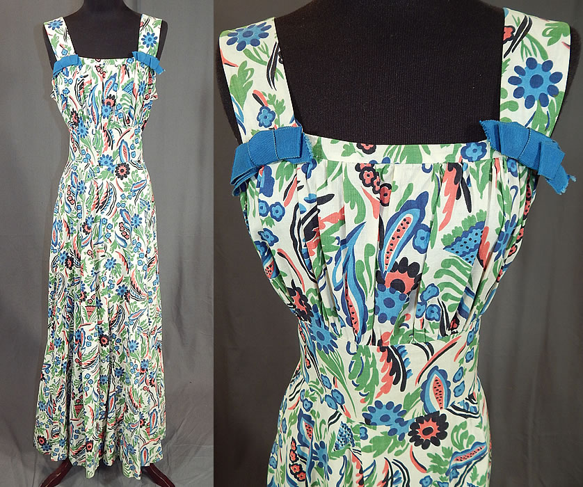 Vintage Colorful Cotton Floral Leaf Print Maxi Dress & Cropped Bolero Jacket