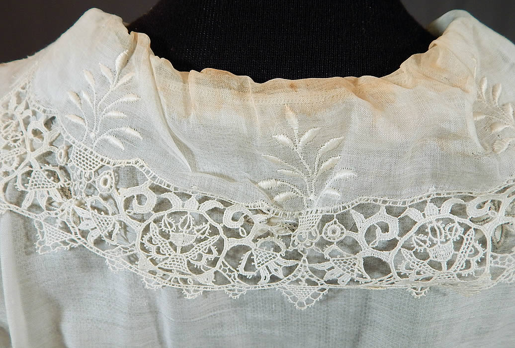 Edwardian White Cotton Batiste Embroidered Eyelet Butterfly Lace Dress