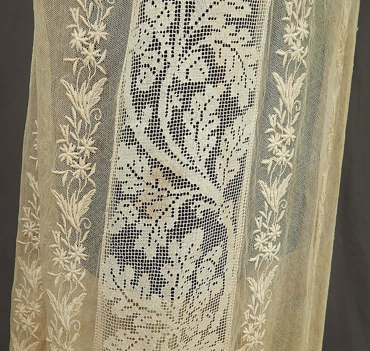 Vintage Embroidered Cream Net Filet Lace Drop Waist Chemise Shift Dress
