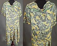 Vintage Black & White Yellow Daisy Print Silk Sailor Collar Drop Waist Dress