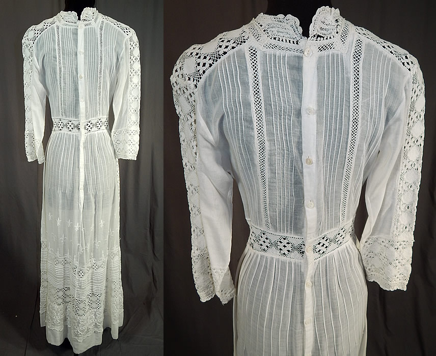 Edwardian White Cotton Batiste Fleur-de-lis Embroidered Lace Lawn Dress Tea Gown