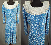 Vintage Blue & White Feather Novelty Print Rayon Dress Suit Peplum Jacket Skirt